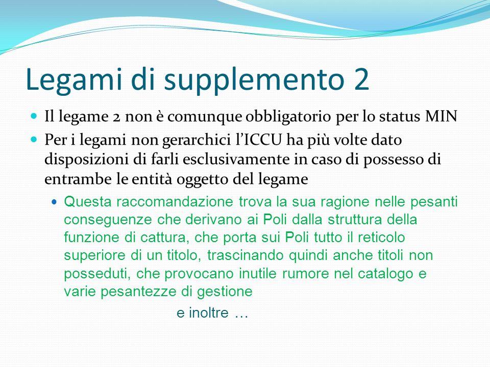 Legami di supplemento 2 Il legame 2 non è comunque obbligatorio per lo status MIN Per i legami non gerarchici lICCU ha più volte dato disposizioni di