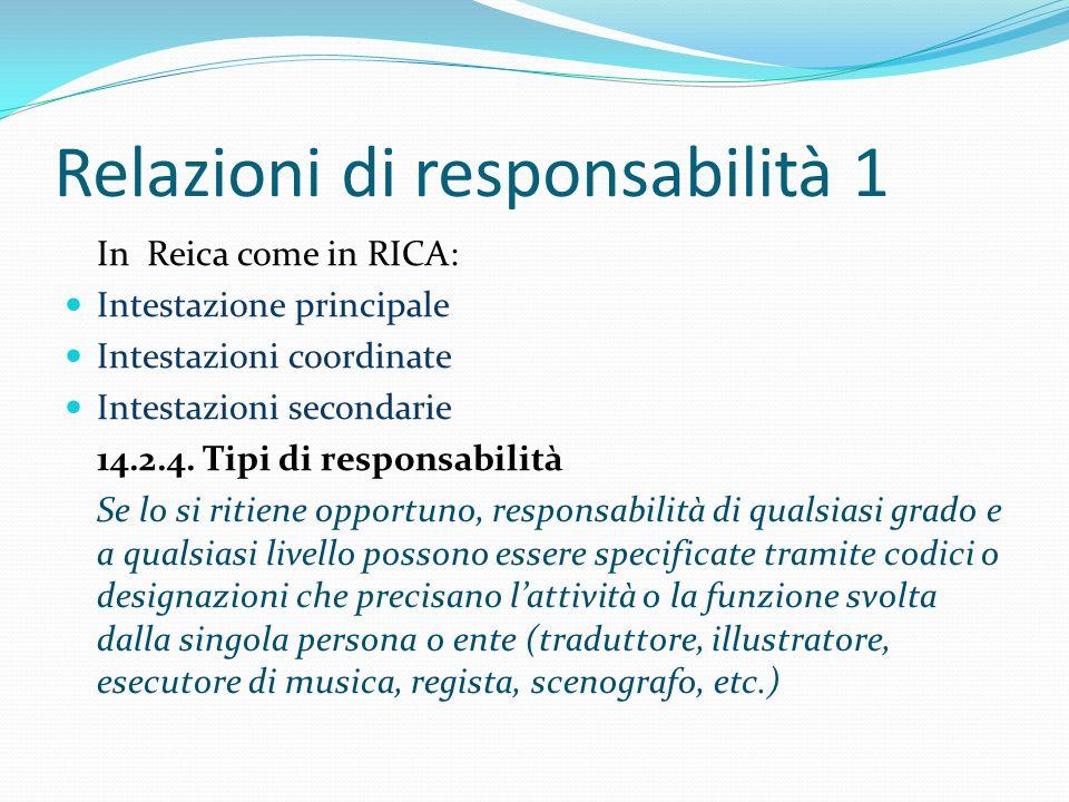 Relazioni di responsabilità 1 In Reica come in RICA: Intestazione principale Intestazioni coordinate Intestazioni secondarie 14.2.4. Tipi di responsab