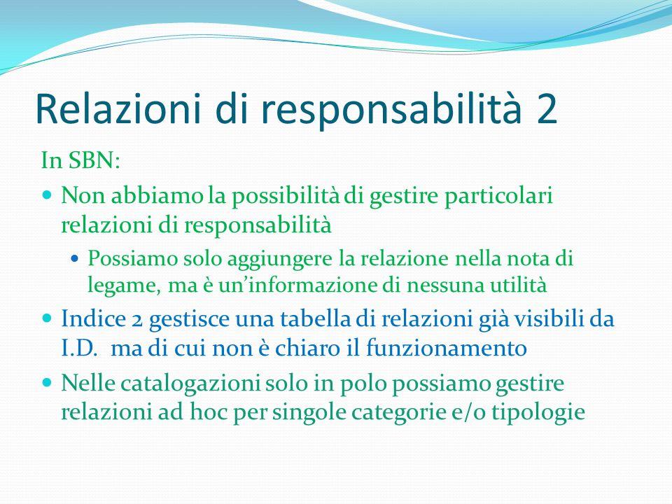 Relazioni di responsabilità 2 In SBN: Non abbiamo la possibilità di gestire particolari relazioni di responsabilità Possiamo solo aggiungere la relazi