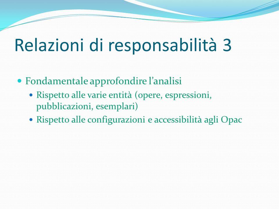 Relazioni di responsabilità 3 Fondamentale approfondire lanalisi Rispetto alle varie entità (opere, espressioni, pubblicazioni, esemplari) Rispetto al