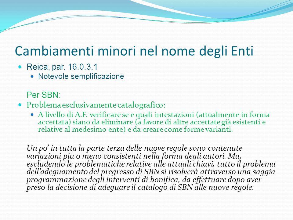 Cambiamenti minori nel nome degli Enti Reica, par. 16.0.3.1 Notevole semplificazione Per SBN: Problema esclusivamente catalografico: A livello di A.F.
