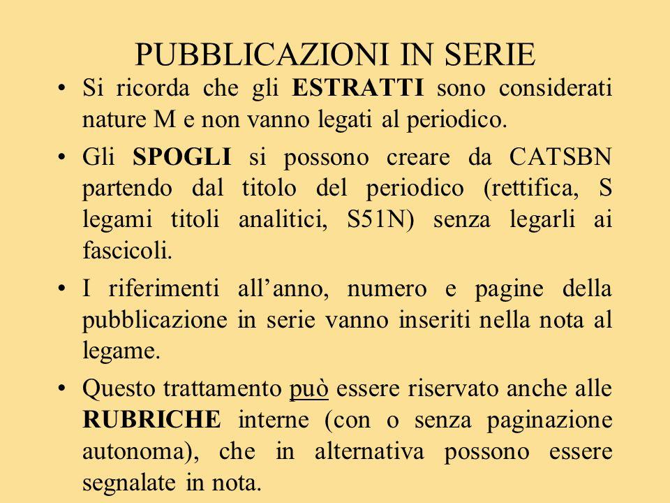 PUBBLICAZIONI IN SERIE Si ricorda che gli ESTRATTI sono considerati nature M e non vanno legati al periodico.