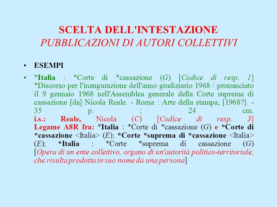 SCELTA DELL'INTESTAZIONE PUBBLICAZIONI DI AUTORI COLLETTIVI ESEMPI *Italia : *Corte di *cassazione (G) [Codice di resp. 1] *Discorso per l'inaugurazio