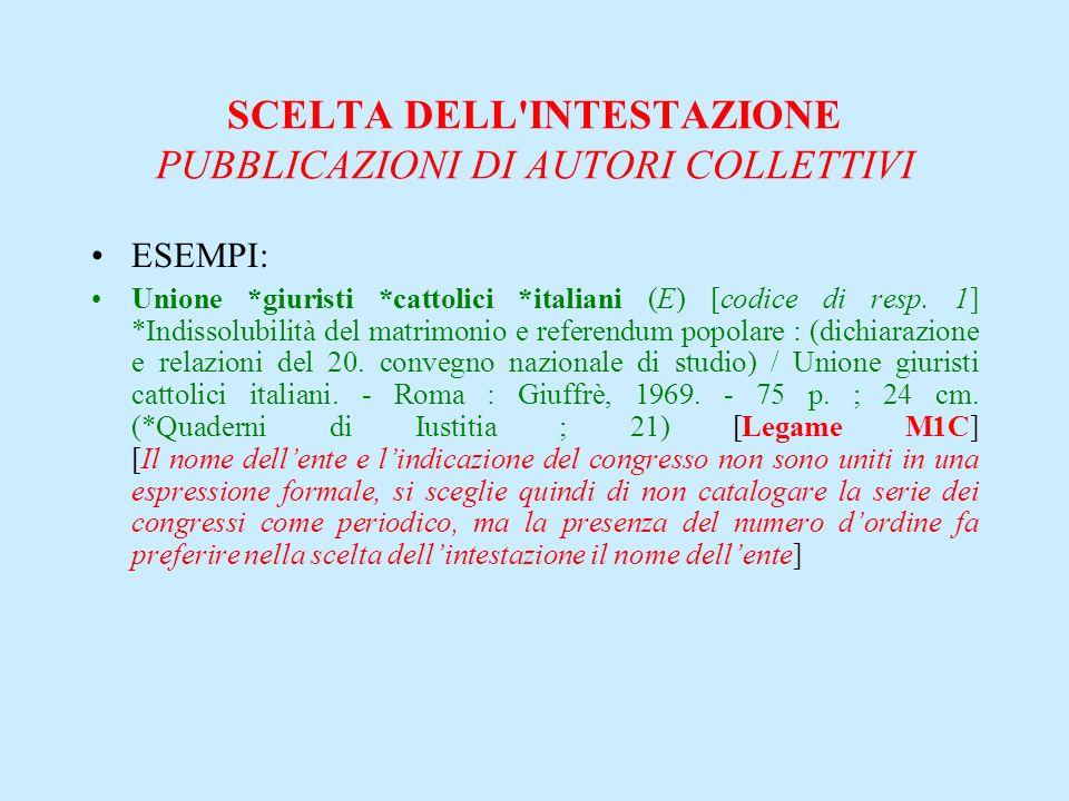 SCELTA DELL'INTESTAZIONE PUBBLICAZIONI DI AUTORI COLLETTIVI ESEMPI: Unione *giuristi *cattolici *italiani (E) [codice di resp. 1] *Indissolubilità del
