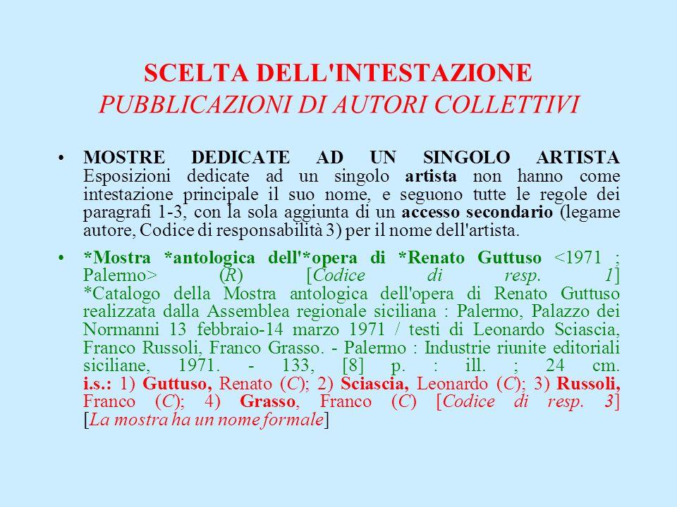 SCELTA DELL'INTESTAZIONE PUBBLICAZIONI DI AUTORI COLLETTIVI MOSTRE DEDICATE AD UN SINGOLO ARTISTA Esposizioni dedicate ad un singolo artista non hanno