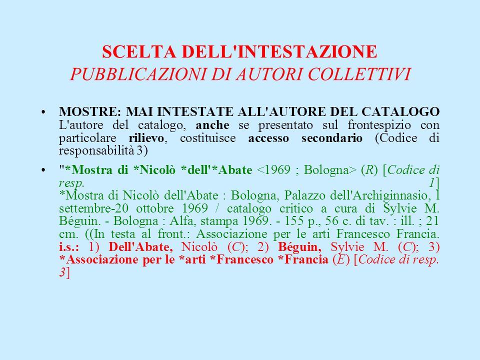 SCELTA DELL'INTESTAZIONE PUBBLICAZIONI DI AUTORI COLLETTIVI MOSTRE: MAI INTESTATE ALL'AUTORE DEL CATALOGO L'autore del catalogo, anche se presentato s