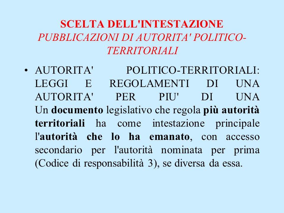 SCELTA DELL'INTESTAZIONE PUBBLICAZIONI DI AUTORITA' POLITICO- TERRITORIALI AUTORITA' POLITICO-TERRITORIALI: LEGGI E REGOLAMENTI DI UNA AUTORITA' PER P