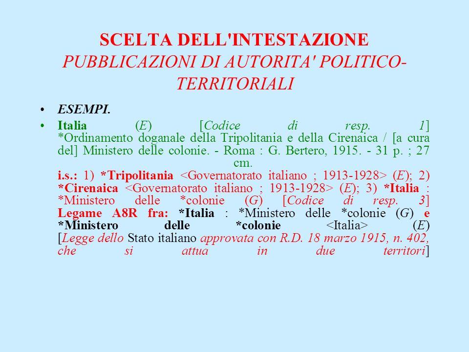 SCELTA DELL'INTESTAZIONE PUBBLICAZIONI DI AUTORITA' POLITICO- TERRITORIALI ESEMPI. Italia (E) [Codice di resp. 1] *Ordinamento doganale della Tripolit