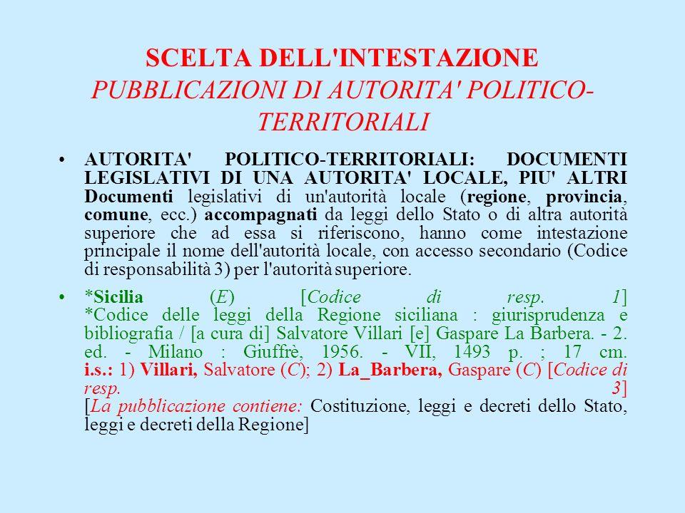 SCELTA DELL'INTESTAZIONE PUBBLICAZIONI DI AUTORITA' POLITICO- TERRITORIALI AUTORITA' POLITICO-TERRITORIALI: DOCUMENTI LEGISLATIVI DI UNA AUTORITA' LOC