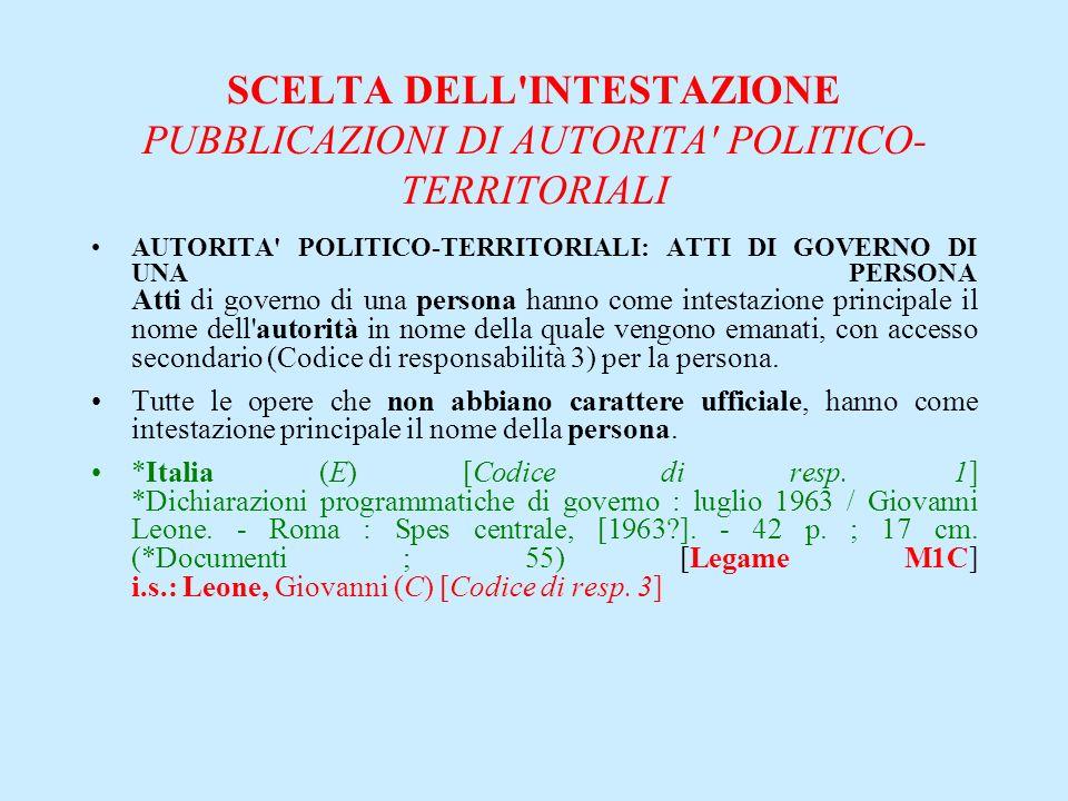 SCELTA DELL'INTESTAZIONE PUBBLICAZIONI DI AUTORITA' POLITICO- TERRITORIALI AUTORITA' POLITICO-TERRITORIALI: ATTI DI GOVERNO DI UNA PERSONA Atti di gov