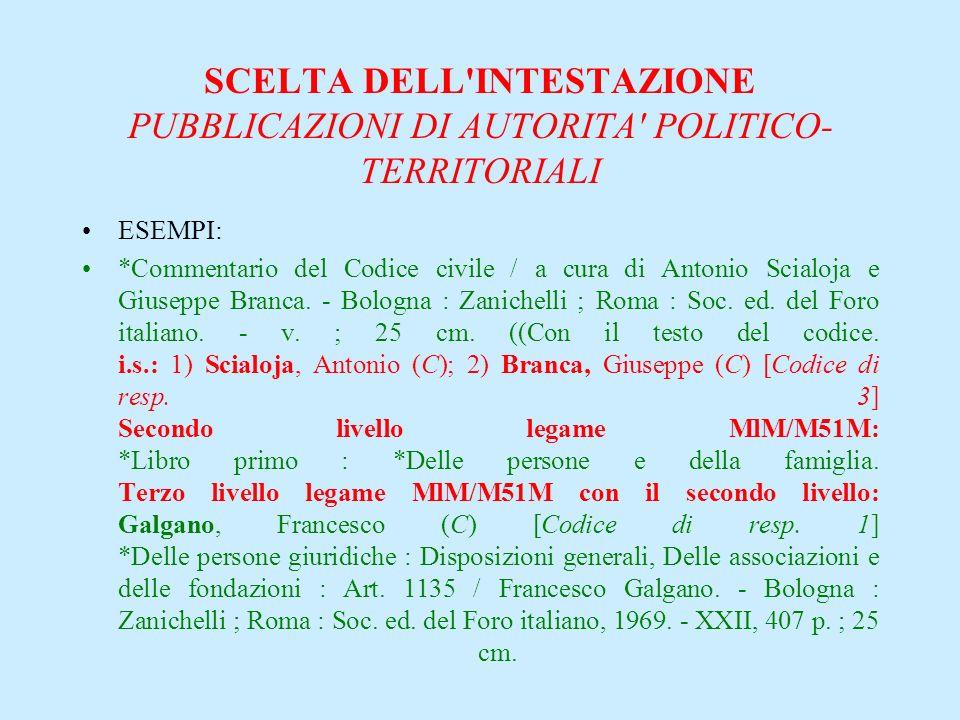 SCELTA DELL'INTESTAZIONE PUBBLICAZIONI DI AUTORITA' POLITICO- TERRITORIALI ESEMPI: *Commentario del Codice civile / a cura di Antonio Scialoja e Giuse