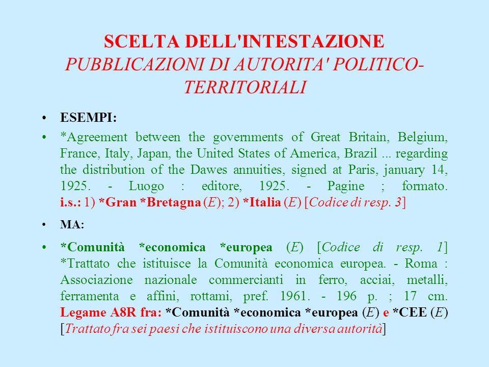 SCELTA DELL'INTESTAZIONE PUBBLICAZIONI DI AUTORITA' POLITICO- TERRITORIALI ESEMPI: *Agreement between the governments of Great Britain, Belgium, Franc