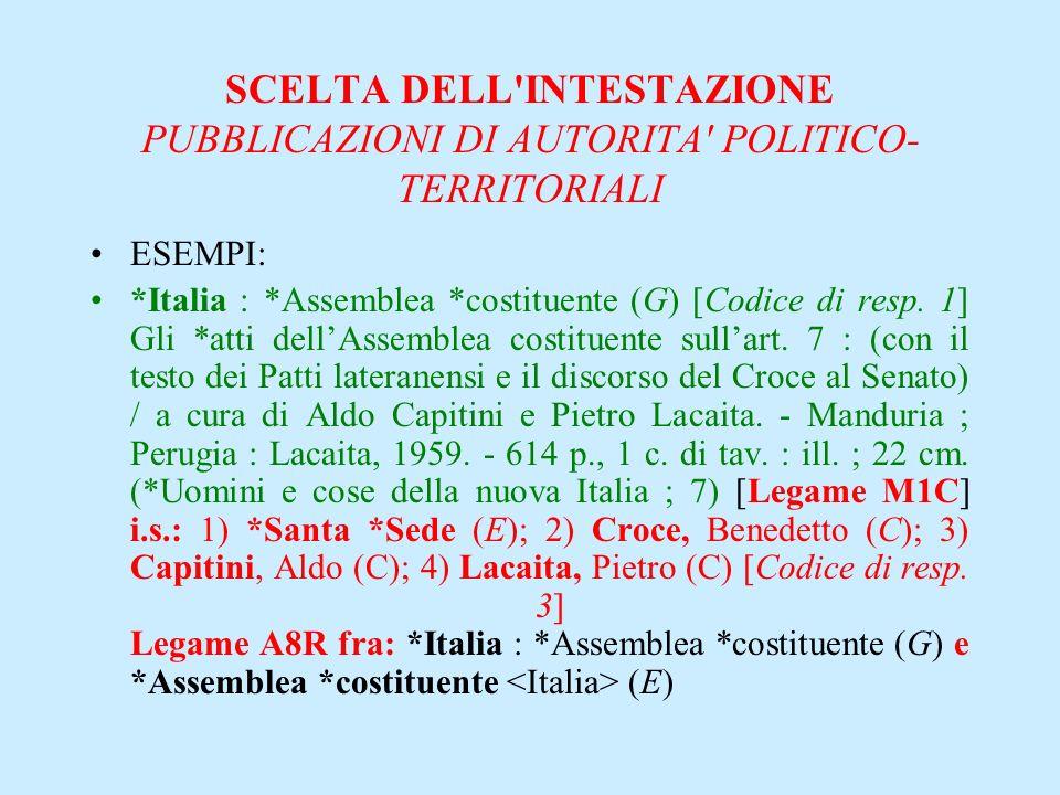 SCELTA DELL'INTESTAZIONE PUBBLICAZIONI DI AUTORITA' POLITICO- TERRITORIALI ESEMPI: *Italia : *Assemblea *costituente (G) [Codice di resp. 1] Gli *atti