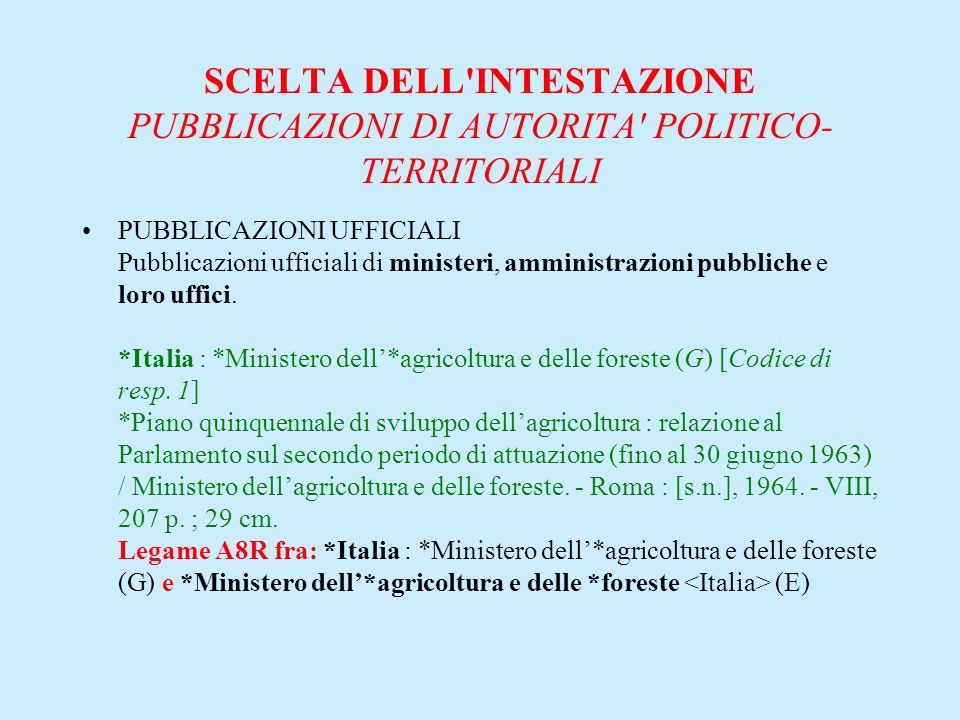 SCELTA DELL'INTESTAZIONE PUBBLICAZIONI DI AUTORITA' POLITICO- TERRITORIALI PUBBLICAZIONI UFFICIALI Pubblicazioni ufficiali di ministeri, amministrazio