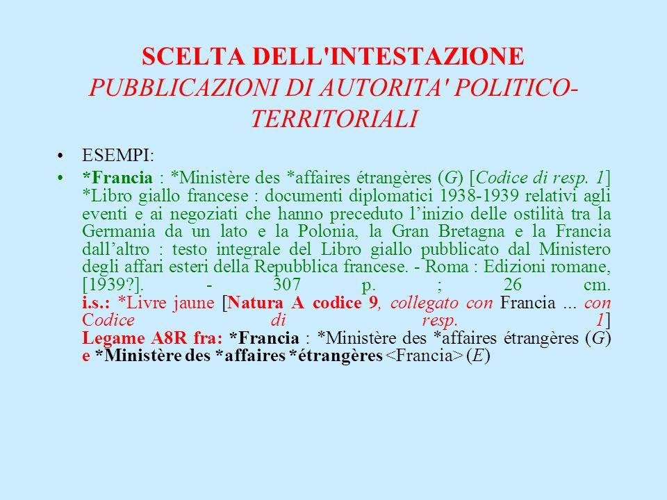 SCELTA DELL'INTESTAZIONE PUBBLICAZIONI DI AUTORITA' POLITICO- TERRITORIALI ESEMPI: *Francia : *Ministère des *affaires étrangères (G) [Codice di resp.