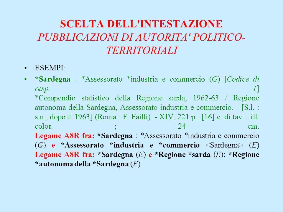 SCELTA DELL'INTESTAZIONE PUBBLICAZIONI DI AUTORITA' POLITICO- TERRITORIALI ESEMPI: *Sardegna : *Assessorato *industria e commercio (G) [Codice di resp