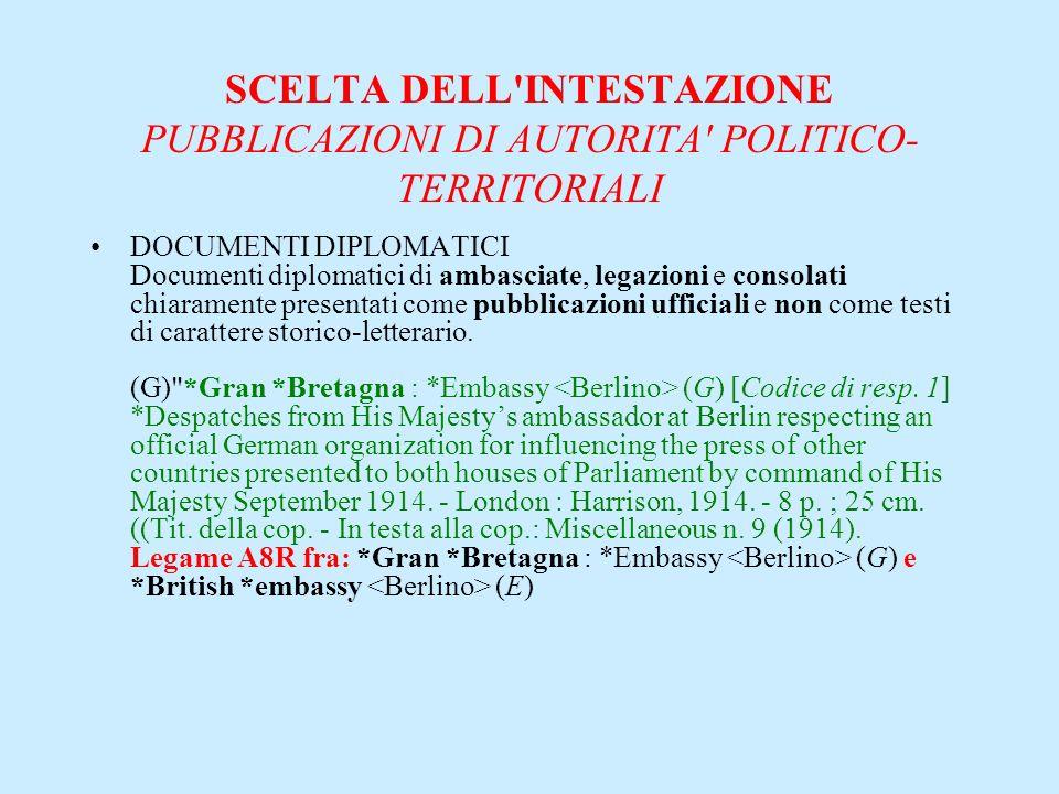 SCELTA DELL'INTESTAZIONE PUBBLICAZIONI DI AUTORITA' POLITICO- TERRITORIALI DOCUMENTI DIPLOMATICI Documenti diplomatici di ambasciate, legazioni e cons