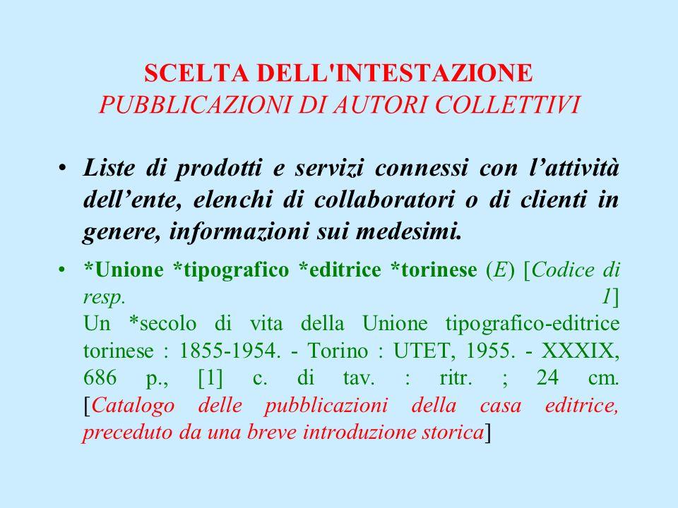 SCELTA DELL'INTESTAZIONE PUBBLICAZIONI DI AUTORI COLLETTIVI Liste di prodotti e servizi connessi con lattività dellente, elenchi di collaboratori o di