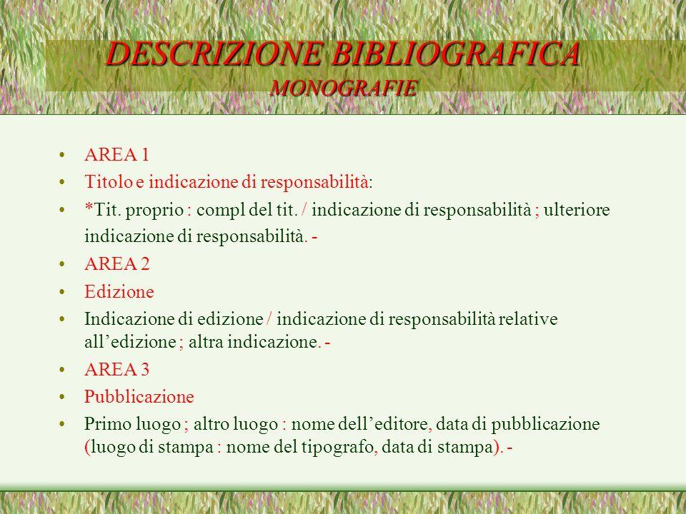 DESCRIZIONE BIBLIOGRAFICA MONOGRAFIE AREA 1 Titolo e indicazione di responsabilità: *Tit. proprio : compl del tit. / indicazione di responsabilità ; u