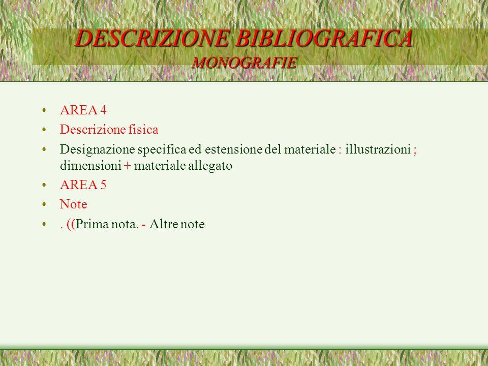DESCRIZIONE BIBLIOGRAFICA MONOGRAFIE AREA 4 Descrizione fisica Designazione specifica ed estensione del materiale : illustrazioni ; dimensioni + mater