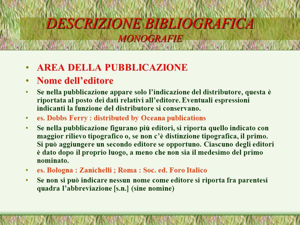 DESCRIZIONE BIBLIOGRAFICA MONOGRAFIE AREA DELLA PUBBLICAZIONE Nome delleditore Se nella pubblicazione appare solo lindicazione del distributore, quest