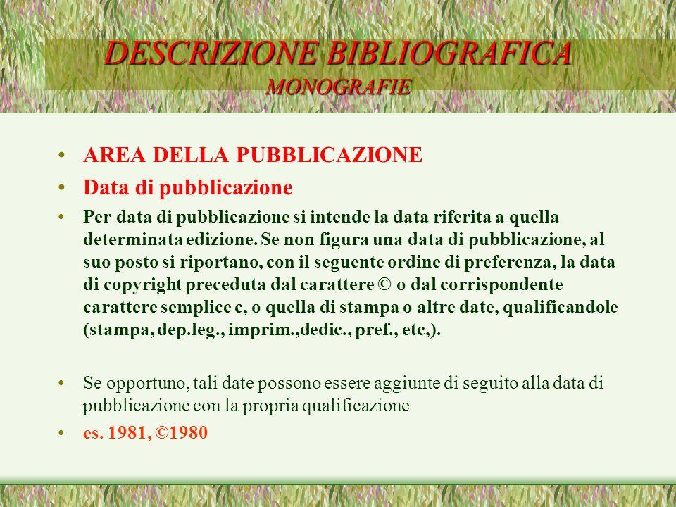 DESCRIZIONE BIBLIOGRAFICA MONOGRAFIE AREA DELLA PUBBLICAZIONE Data di pubblicazione Per data di pubblicazione si intende la data riferita a quella det