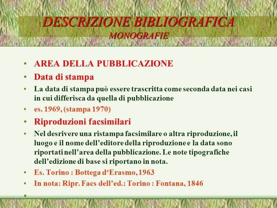 DESCRIZIONE BIBLIOGRAFICA MONOGRAFIE AREA DELLA PUBBLICAZIONE Data di stampa La data di stampa può essere trascritta come seconda data nei casi in cui