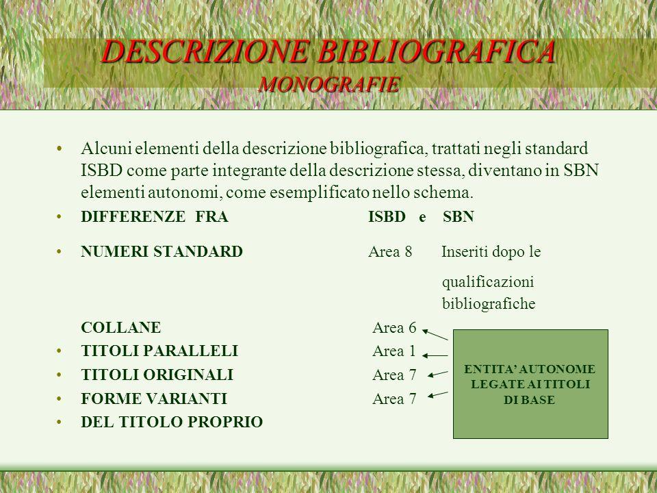 DESCRIZIONE BIBLIOGRAFICA MONOGRAFIE Alcuni elementi della descrizione bibliografica, trattati negli standard ISBD come parte integrante della descriz