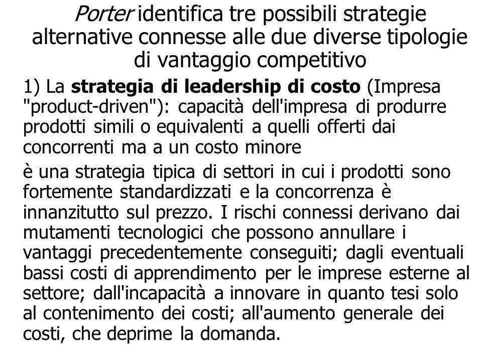 Porter identifica tre possibili strategie alternative connesse alle due diverse tipologie di vantaggio competitivo 1) La strategia di leadership di co