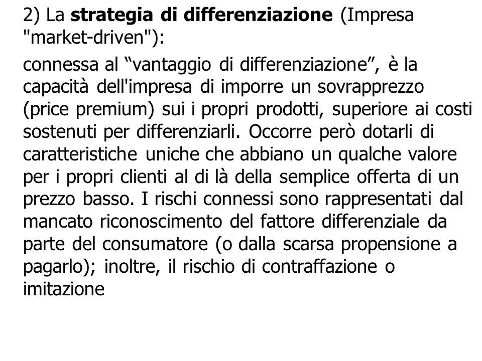 2) La strategia di differenziazione (Impresa market-driven ): connessa al vantaggio di differenziazione, è la capacità dell impresa di imporre un sovrapprezzo (price premium) sui i propri prodotti, superiore ai costi sostenuti per differenziarli.