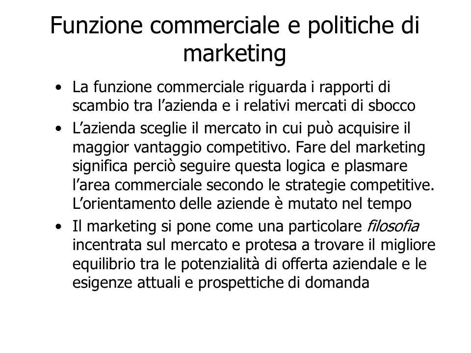Funzione commerciale e politiche di marketing La funzione commerciale riguarda i rapporti di scambio tra lazienda e i relativi mercati di sbocco Lazienda sceglie il mercato in cui può acquisire il maggior vantaggio competitivo.