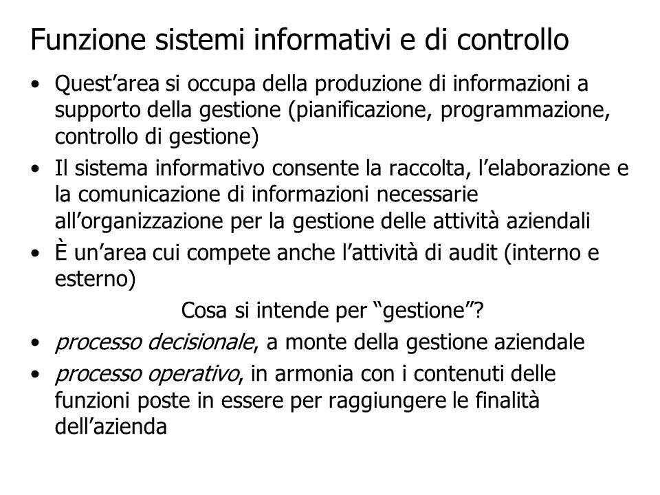 Questarea si occupa della produzione di informazioni a supporto della gestione (pianificazione, programmazione, controllo di gestione) Il sistema info