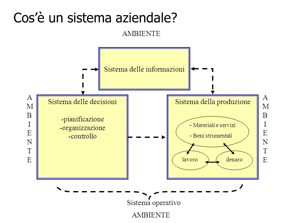 Sistema delle decisioni -pianificazione -organizzazione -controllo Sistema delle informazioni Sistema della produzione Sistema operativo - Materiali e servizi - Beni strumentali lavorodenaro AMBIENTE AMBIENTEAMBIENTE AMBIENTEAMBIENTE Cosè un sistema aziendale
