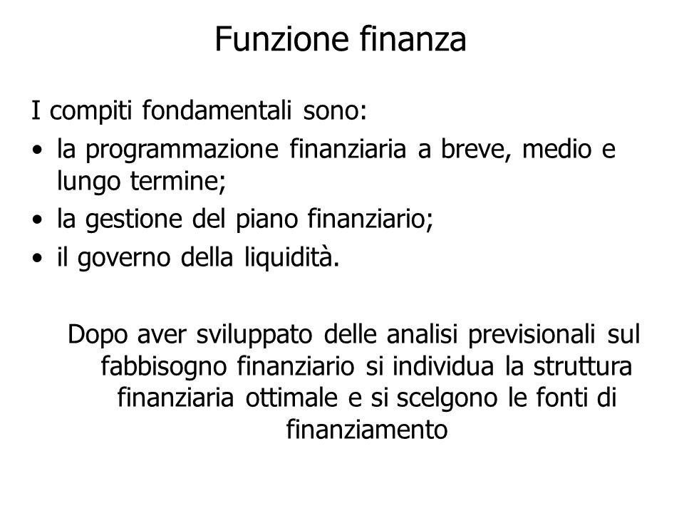 Funzione finanza I compiti fondamentali sono: la programmazione finanziaria a breve, medio e lungo termine; la gestione del piano finanziario; il governo della liquidità.