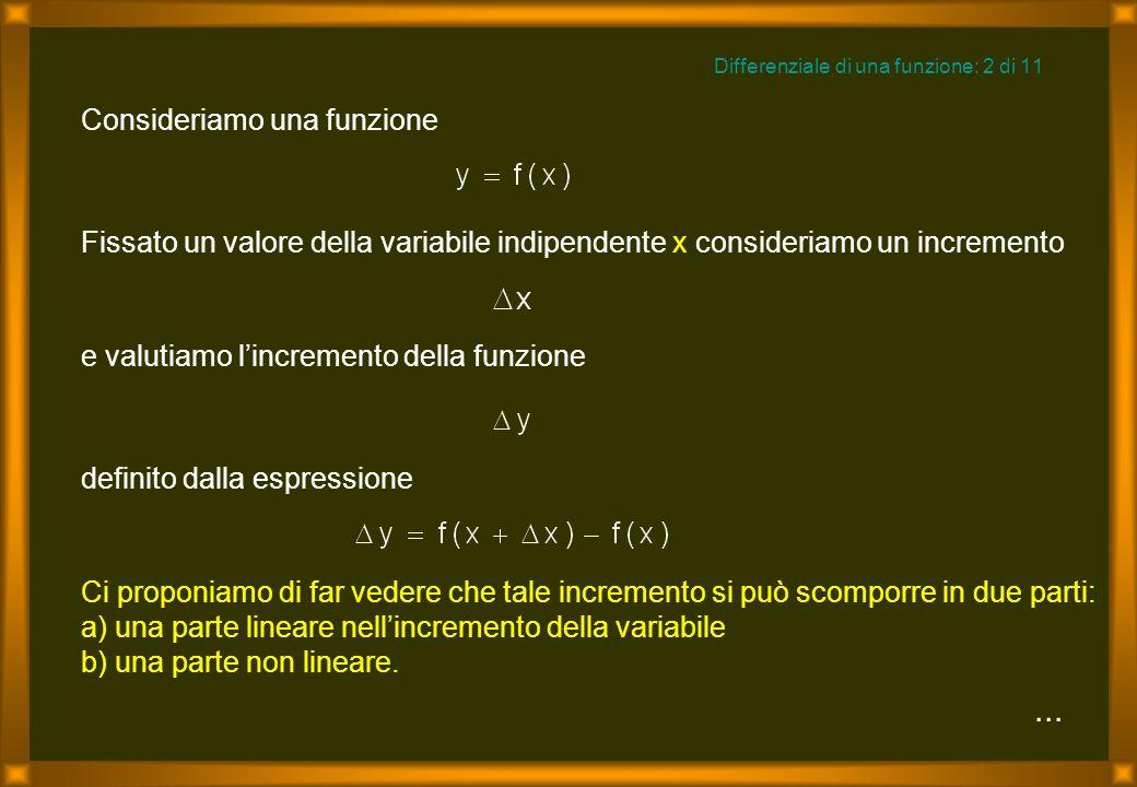 ... Differenziale di una funzione: 2 di 11 Fissato un valore della variabile indipendente x consideriamo un incremento definito dalla espressione e va