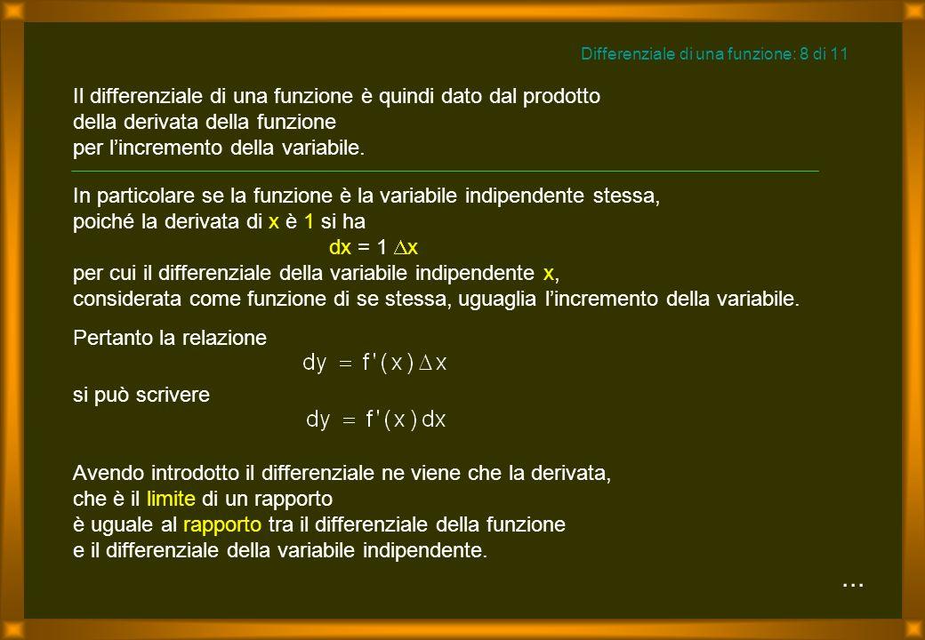 Il differenziale di una funzione è quindi dato dal prodotto della derivata della funzione per lincremento della variabile....