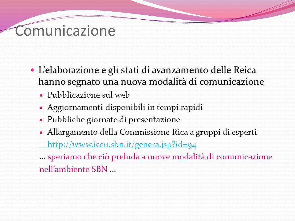 Comunicazione Lelaborazione e gli stati di avanzamento delle Reica hanno segnato una nuova modalità di comunicazione Pubblicazione sul web Aggiornamen