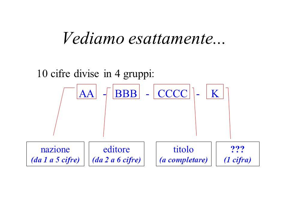 Come è fatto questo codice? Osserviamo che ci sono 4 numeri (cioè gruppi di cifre) separati da trattini. Ad esempio: ISBN 88 - 17 - 11582 - 7 Ma ogni