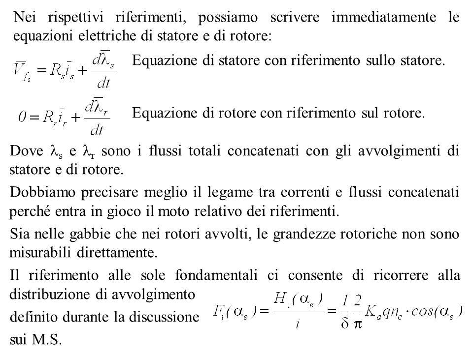 Equazione di statore con riferimento sullo statore. Equazione di rotore con riferimento sul rotore. Dove s e r sono i flussi totali concatenati con gl
