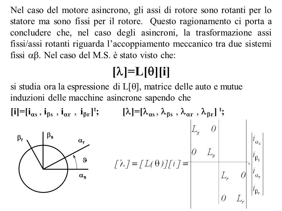 Nel caso del motore asincrono, gli assi di rotore sono rotanti per lo statore ma sono fissi per il rotore. Questo ragionamento ci porta a concludere c