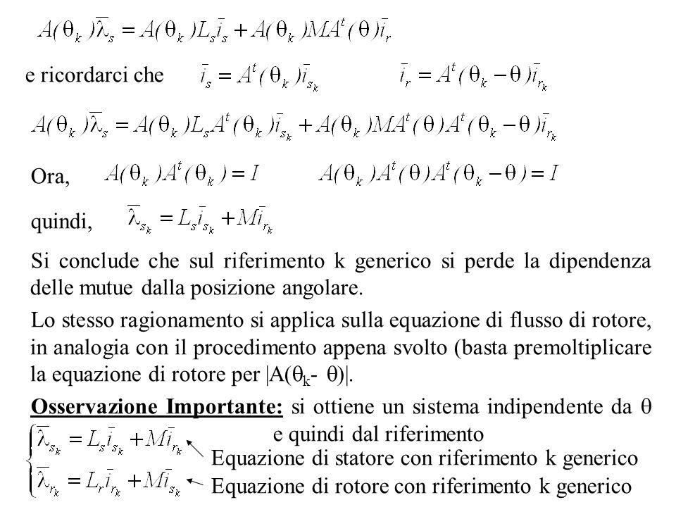 e ricordarci che Ora, quindi, Si conclude che sul riferimento k generico si perde la dipendenza delle mutue dalla posizione angolare. Lo stesso ragion