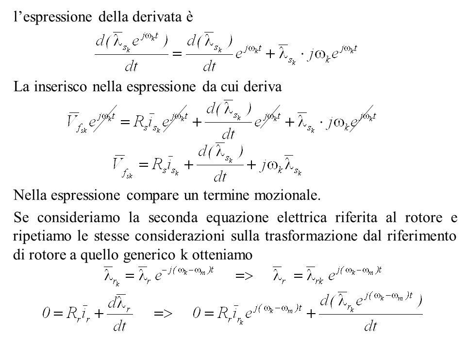 lespressione della derivata è La inserisco nella espressione da cui deriva Nella espressione compare un termine mozionale. Se consideriamo la seconda
