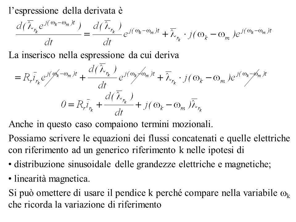lespressione della derivata è La inserisco nella espressione da cui deriva Anche in questo caso compaiono termini mozionali. Possiamo scrivere le equa