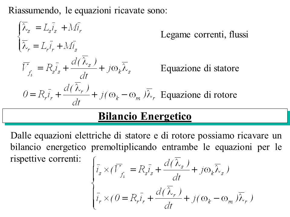 Riassumendo, le equazioni ricavate sono: Legame correnti, flussi Equazione di statore Equazione di rotore Dalle equazioni elettriche di statore e di r