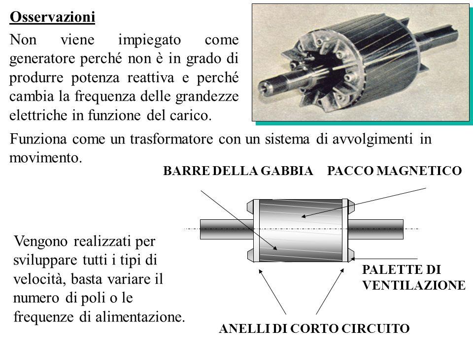 Osservazioni Non viene impiegato come generatore perché non è in grado di produrre potenza reattiva e perché cambia la frequenza delle grandezze elett