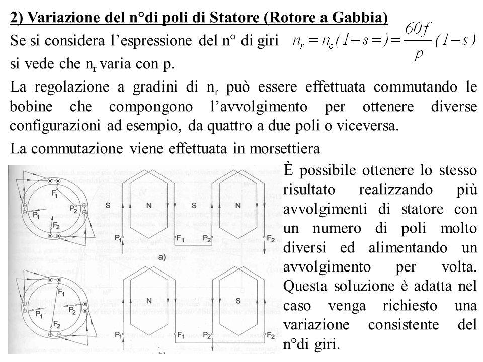 2) Variazione del n°di poli di Statore (Rotore a Gabbia) Se si considera lespressione del n° di giri si vede che n r varia con p. La regolazione a gra