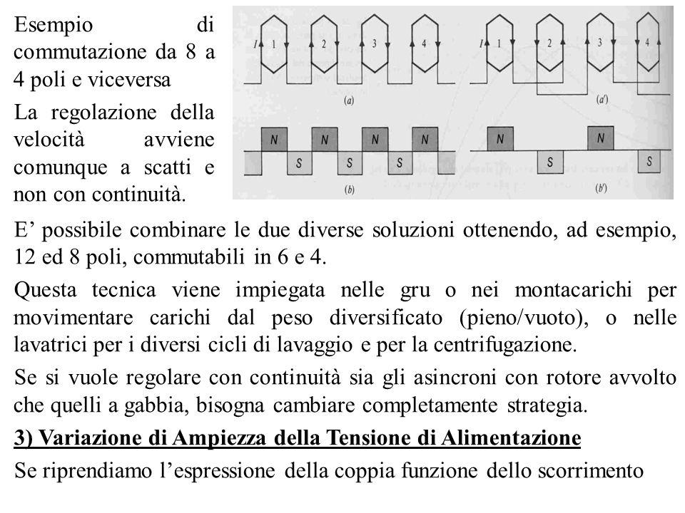 Esempio di commutazione da 8 a 4 poli e viceversa La regolazione della velocità avviene comunque a scatti e non con continuità. E possibile combinare