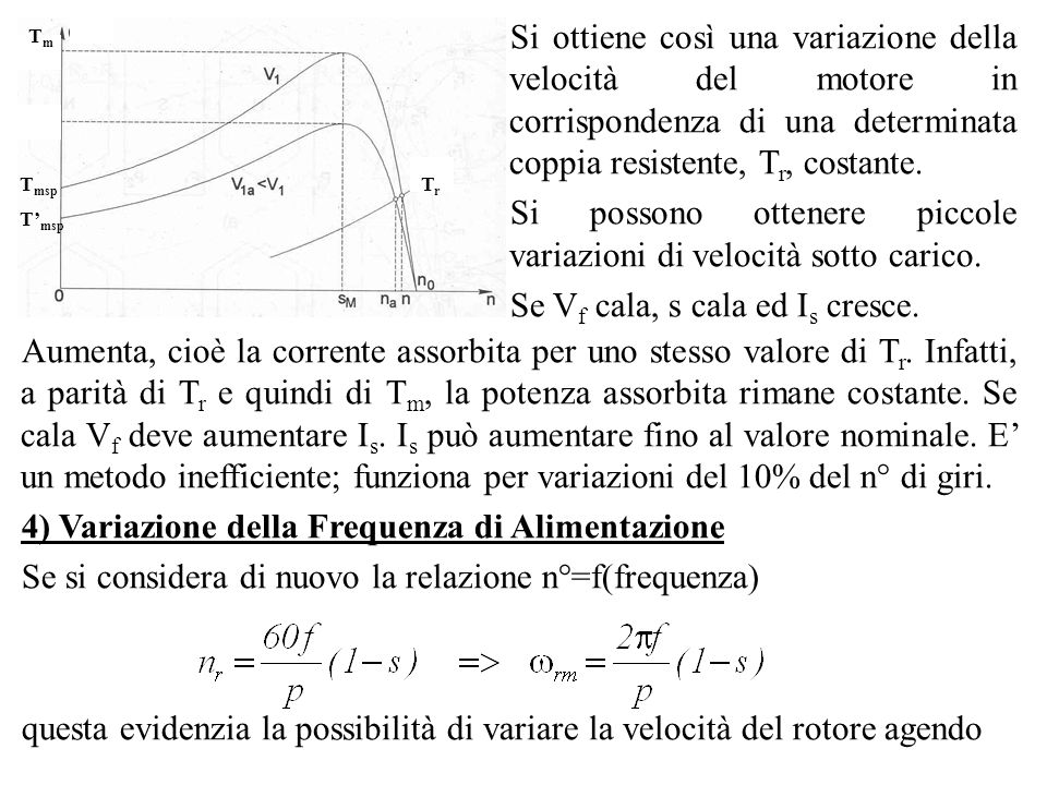 TmTm TrTr T msp Si ottiene così una variazione della velocità del motore in corrispondenza di una determinata coppia resistente, T r, costante. Si pos