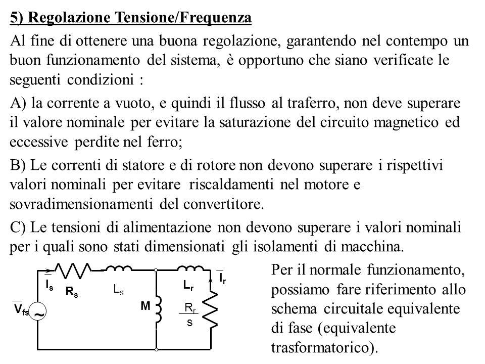5) Regolazione Tensione/Frequenza Al fine di ottenere una buona regolazione, garantendo nel contempo un buon funzionamento del sistema, è opportuno ch