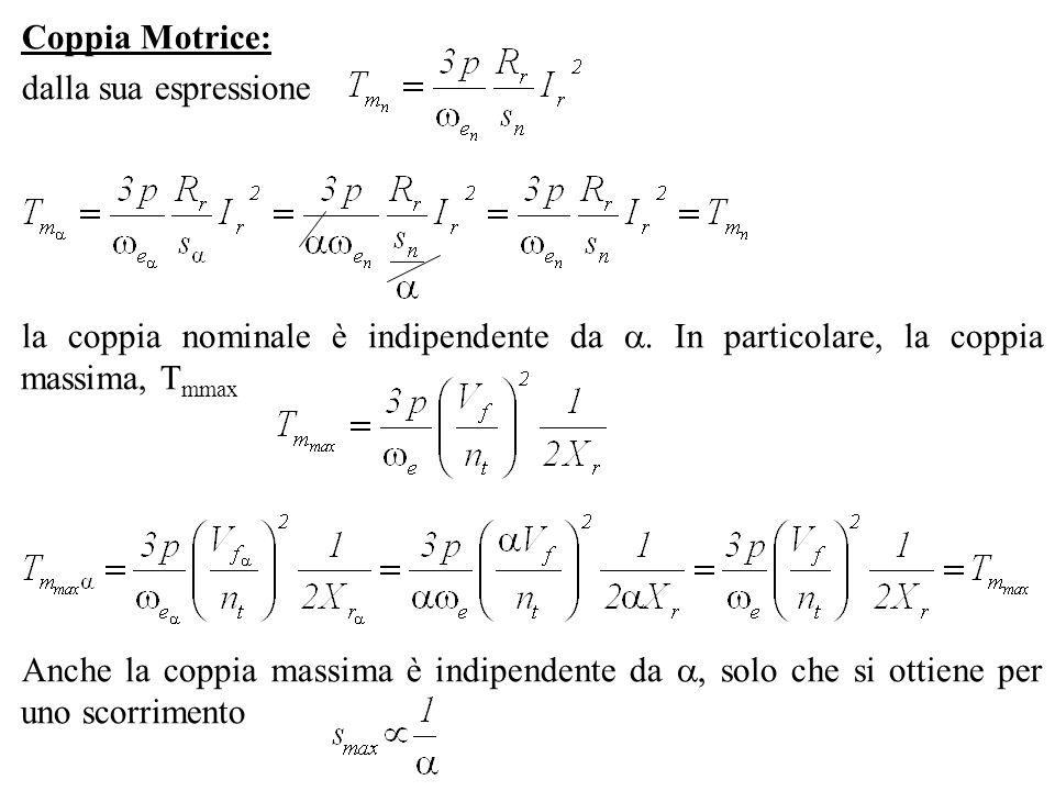 Coppia Motrice: dalla sua espressione la coppia nominale è indipendente da. In particolare, la coppia massima, T mmax Anche la coppia massima è indipe